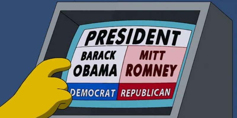 Homer tries to choose Barack Obama on an electric voting machine, but Mitt Romney is highlighted.