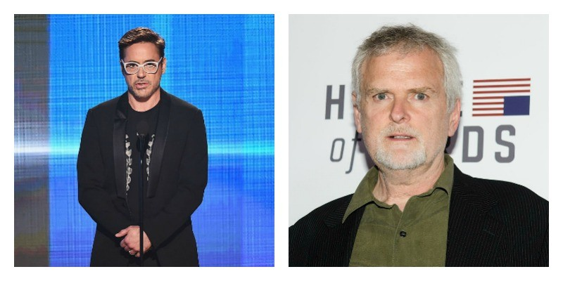 On the left is Robert Downey Jr. in a black suit and white glasses. On the right is a close up picture of David Fincher on the red carpet.