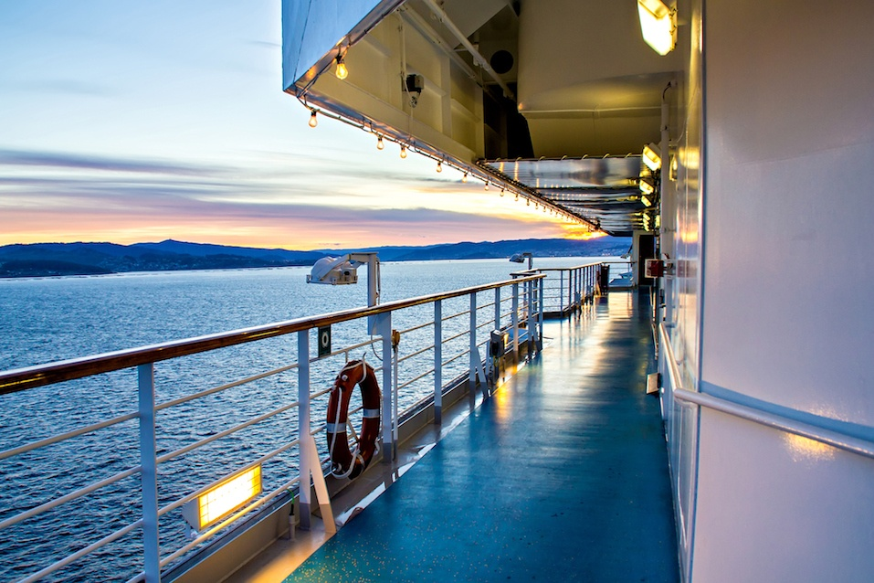 Scenic view of cruise liner deck and ocean