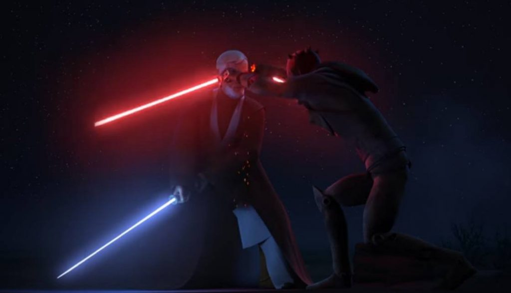 Obi Wan cuts Maul's lightsaber in half