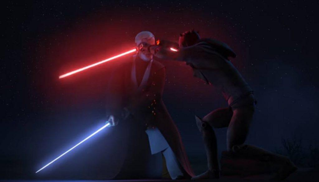 Obi Wan cuts Maul's lightsaber in half