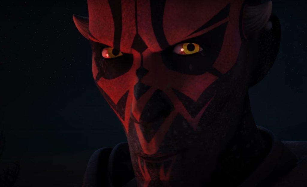 A close-up on Darth Maul's cartoon face