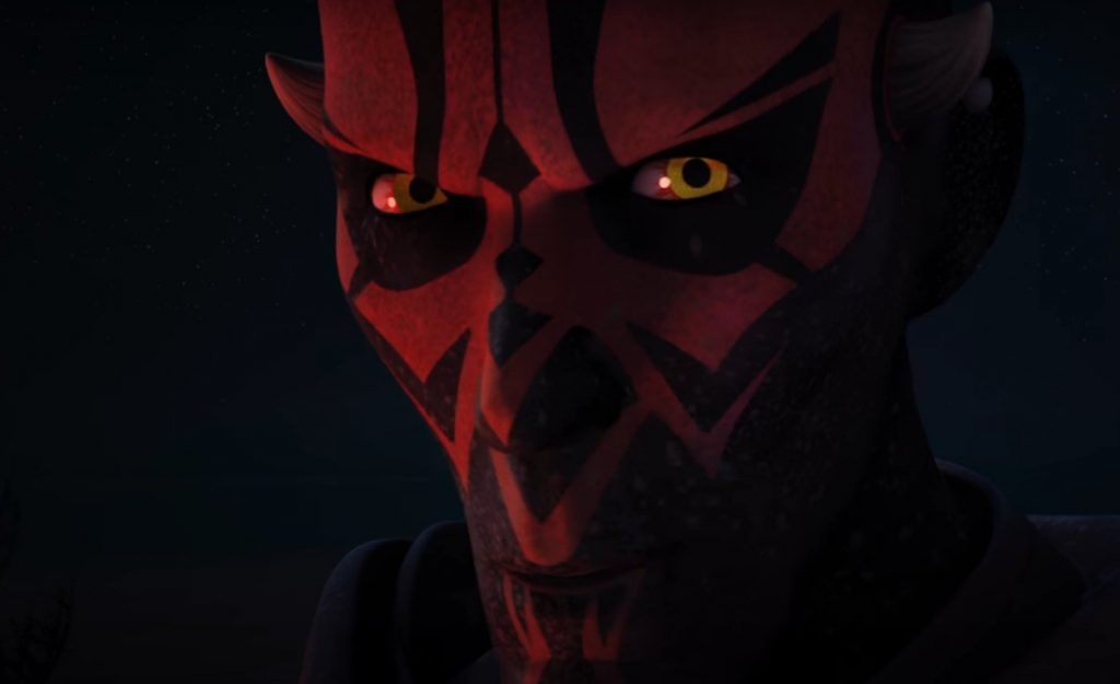 A close-up on Darth Maul's cartoon face