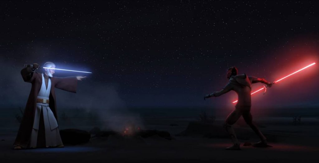 Obi Wan and Darth Maul with their lightsabers out, readying to attack each other