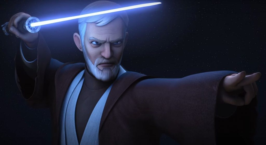 Obi Wan with his lightsaber over his head in his right arm
