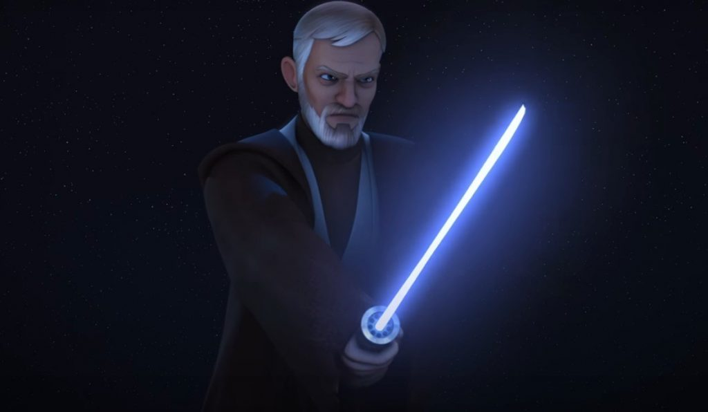 Obi Wan with his lightsaber out in front of his body