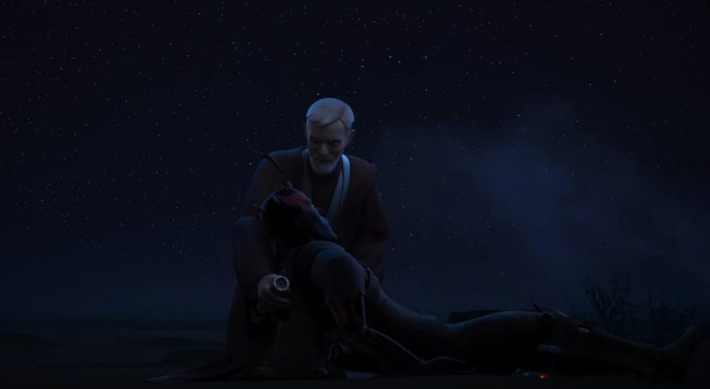 Obi Wan holding a fallen Maul in his arms in the dark