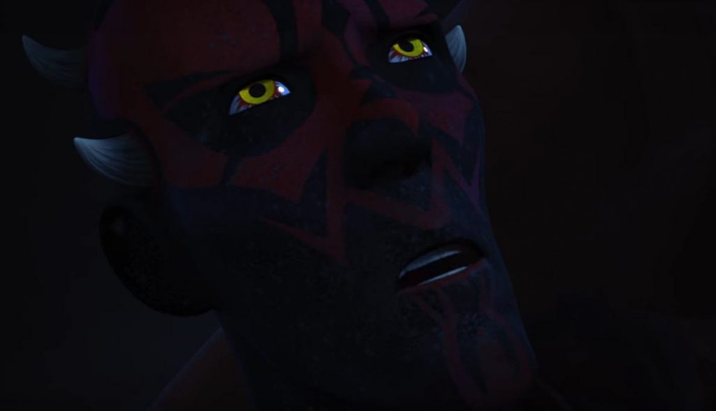 A close-up on a dying Darth Maul's face