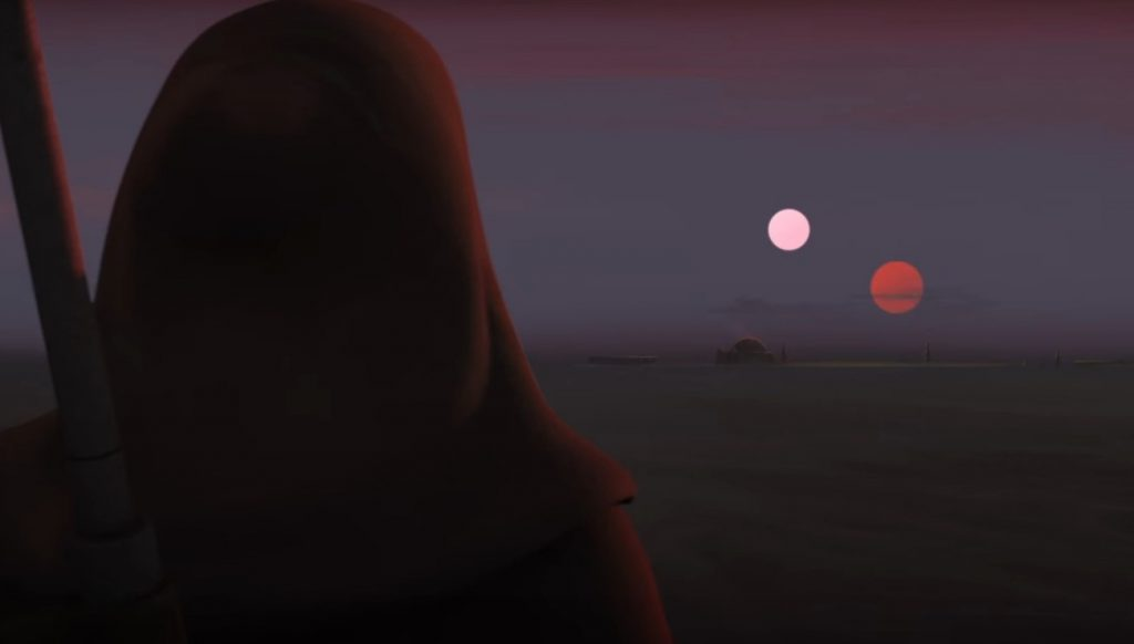 Obi Wan overlooking the Lars homestead at sunrise from afar
