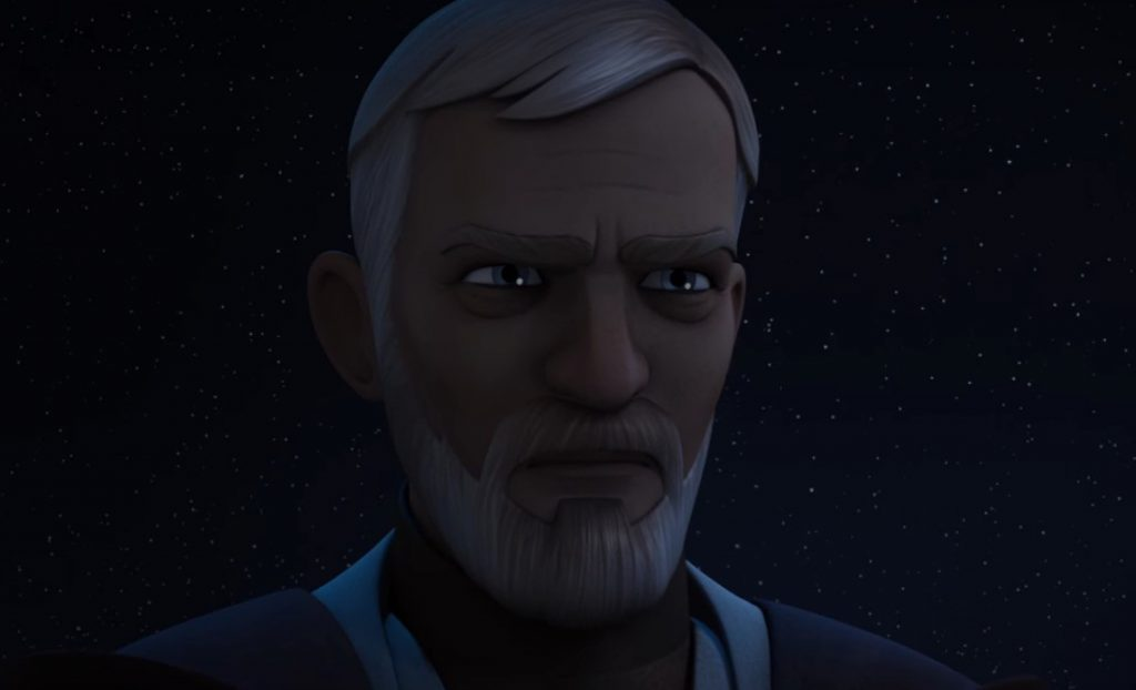 A close-up on Obi Wan's face in cartoon form