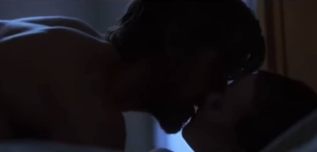 Ryan Gosling and Rachel McAdams silhouetted in the dark, on top of each other