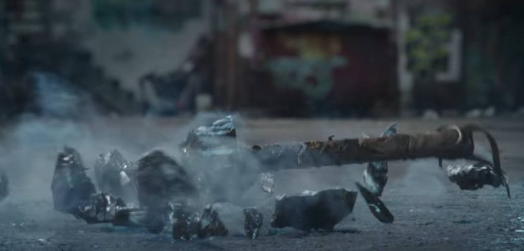 A shattered hammer on the ground in Thor: Ragnarok
