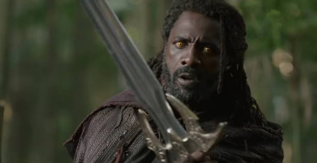Heimdall looking to his left, holding his sword
