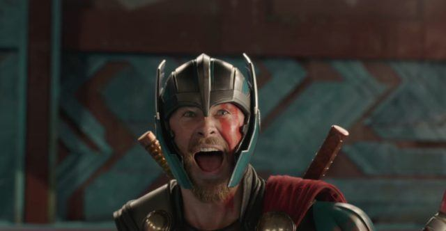Thor screaming while wearing his helmet and gear.