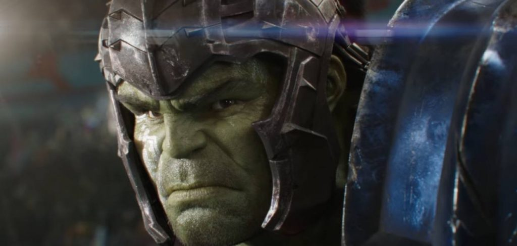 A close-up on Hulk wearing his gladiator armor