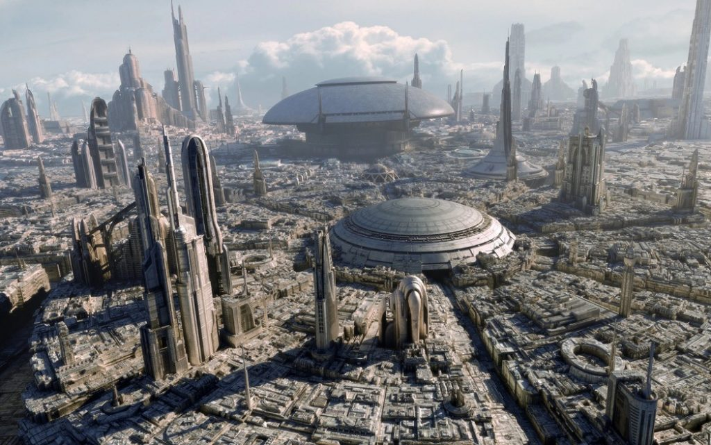 An above-view of Coruscant, showing a high-tech city-scape