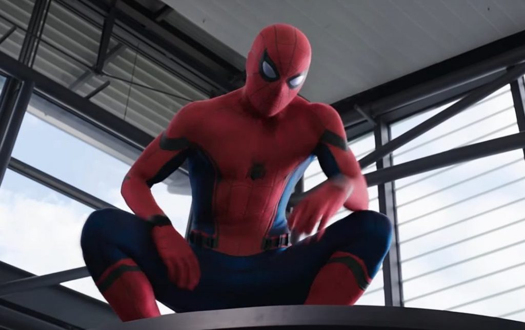 Spider-Man crouching from a vantage point, looking down