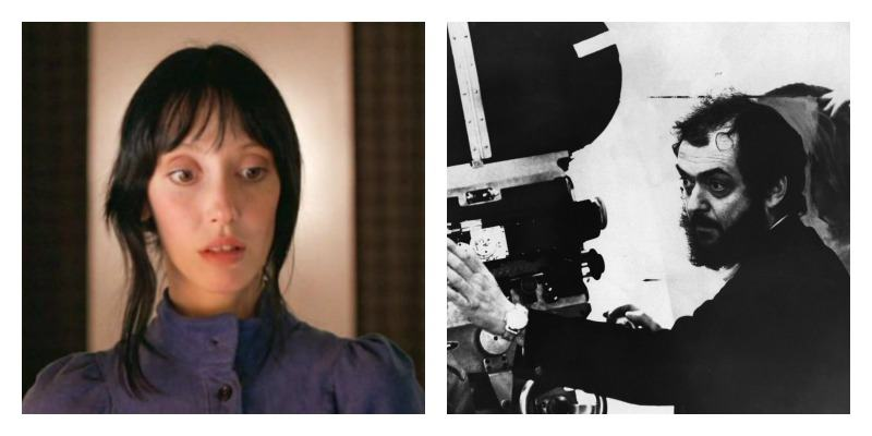On the right is a picture of Shelley Duvall in a blue dress. On the right is Stanley Kubrick behind a camera.