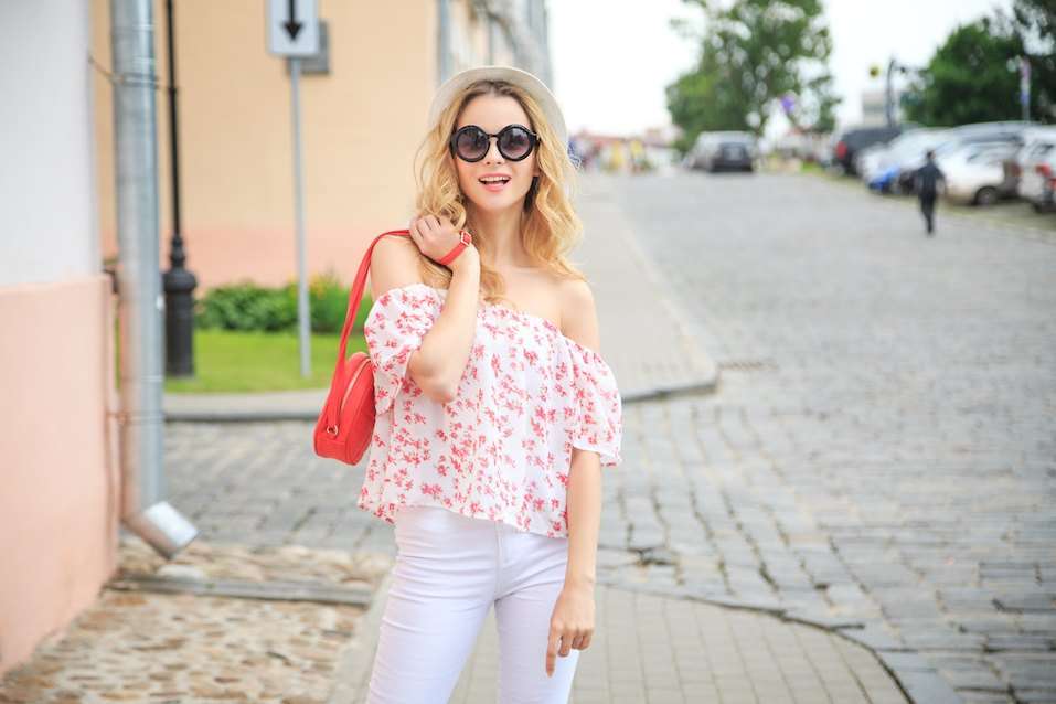 smiling fashionable woman on the street