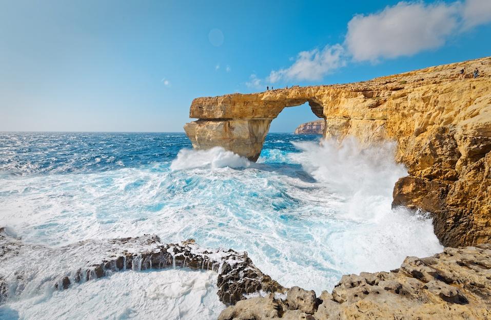Storm the Azure Window in Gozo, Malta