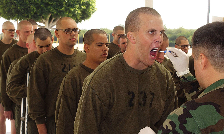 Recruits get a throat swabbing