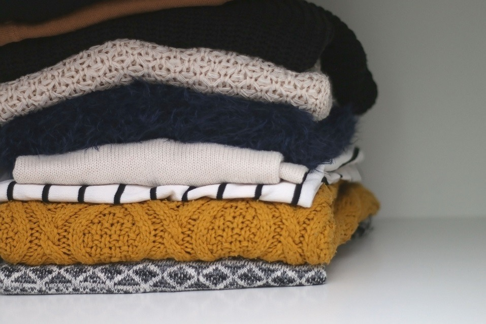 sweaters in the closet