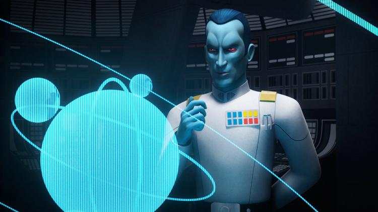 Thrawn looking at holographic star charts, with his fist clenched