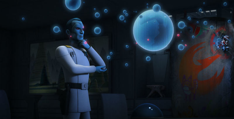 Thrawn with his hand resting below his chin, looking over holographic star charts