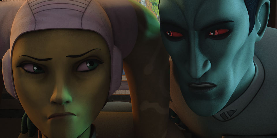 Thrawn whispering in the ear of Hero Syndulla