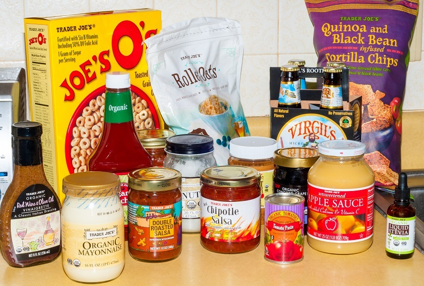 An assortment of grocery products bearing the Trader Joe's brand name