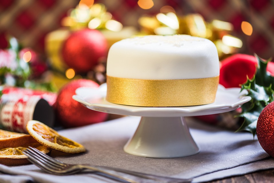 Christmas cake with festive decorations