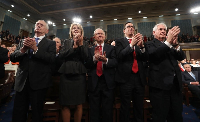 Several members of the Trump cabinet applaud