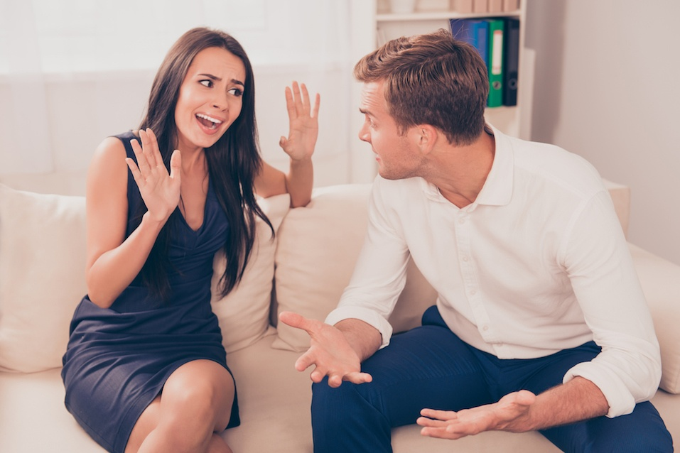 Two young lovers quarreling because of disagreements