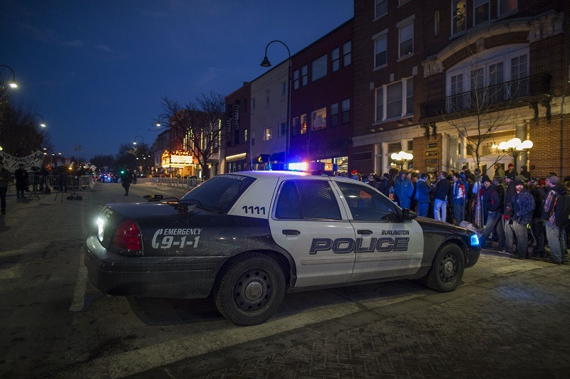 A police car blocks the road outside of the Flynn Center for the Performing Arts in Vermont