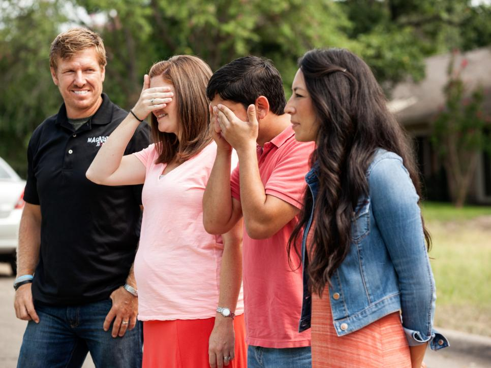 Whitney and Martin Gaspar prepare to see their completed fixer upper with Chip and Joanna Gaines.