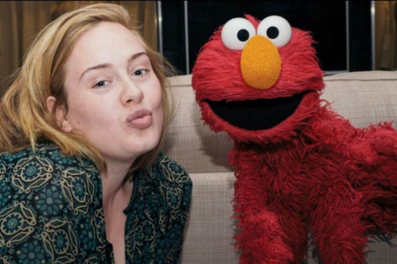 Adele is making a kissing face and is wearing no makeup next to Elmo.