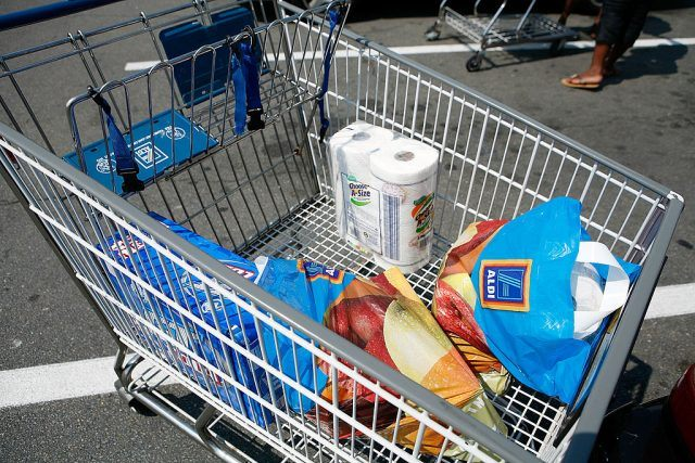 A cart filled with products.
