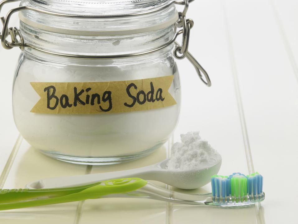 Baking soda and toothbrush
