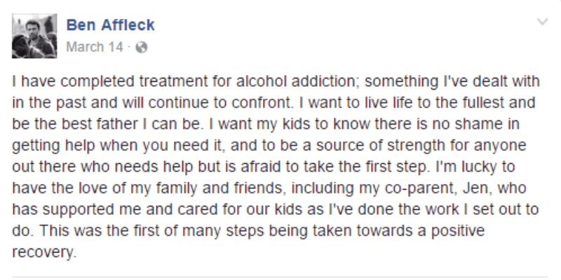 This is a screen shot of Ben Affleck's Facebook post.