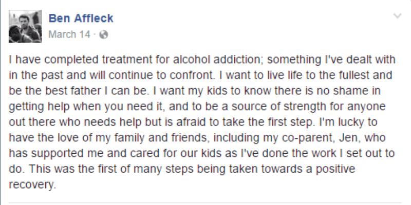 This is a screen shot of Ben Affleck's Facebook post.