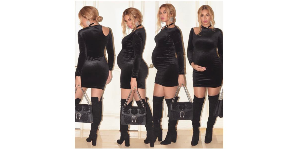In four side-by-side photos, Beyoncé models a form-fitting black dress and thigh-high black boots.