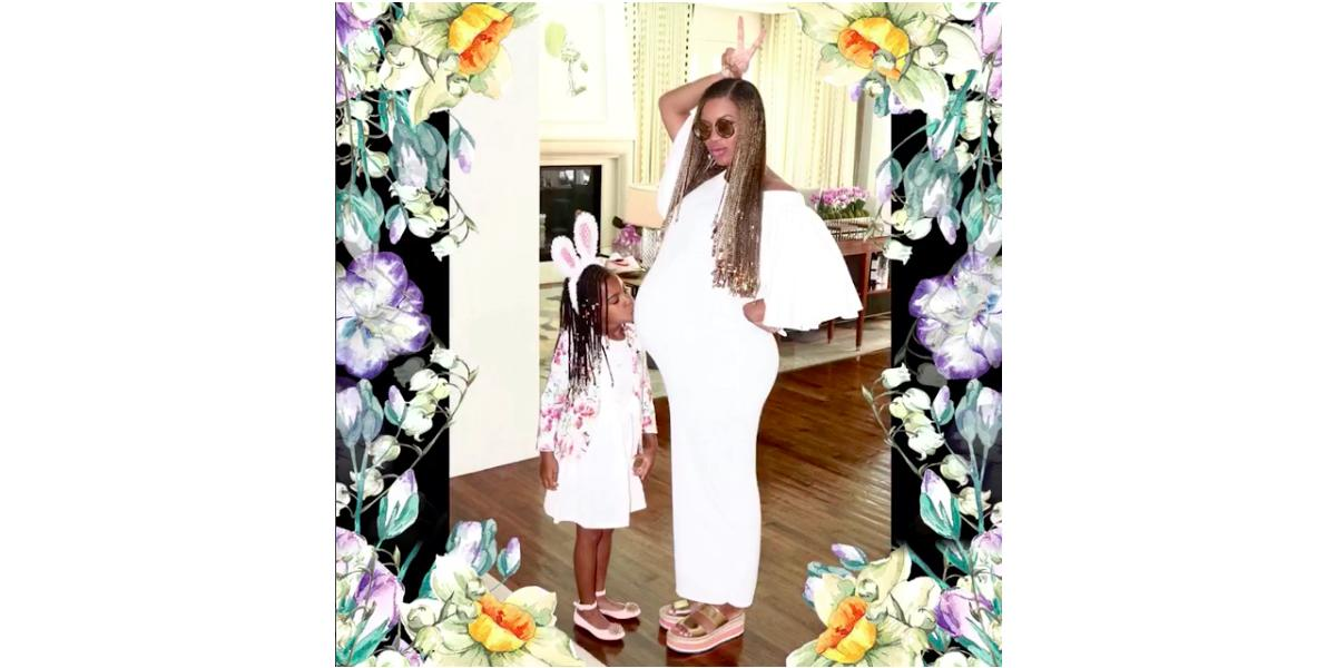 Beyoncé and Blue Ivy pose in easter clothing while Blue kisses her mom's tummy