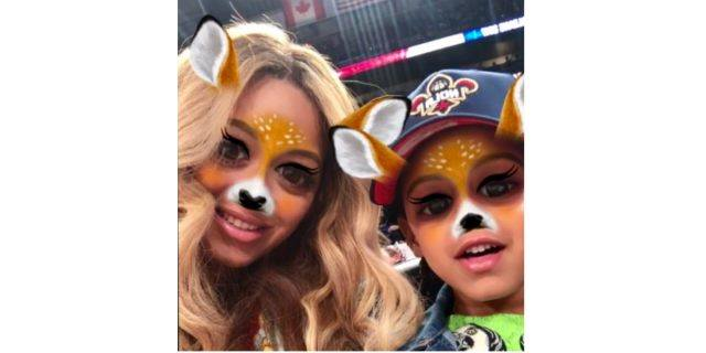 Beyoncé and Blue Ivy, which deer Snapchat filters, pose for a selfie in a photo posted to Beyoncé's Instagram account.
