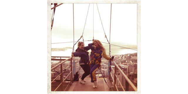 Beyoncé stands with another woman and strikes a pose before she bungee jumps in New Zealand.