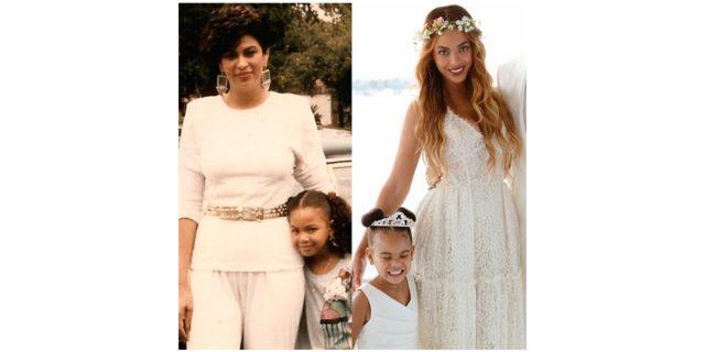 In side-by-side photos, Tina Knowles stands beside a young Beyoncé and Beyoncé stands next to her daughter, Blue Ivy.