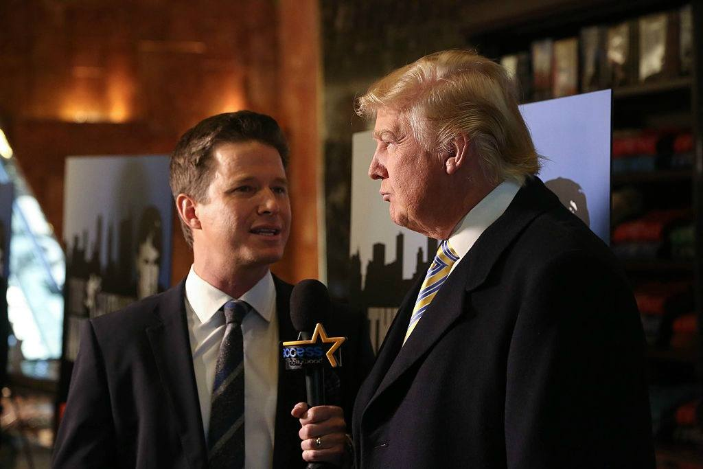 Donald Trump is interviewed by Billy Bush of Access Hollywood at 'Celebrity Apprentice' Red Carpet Event at Trump Tower