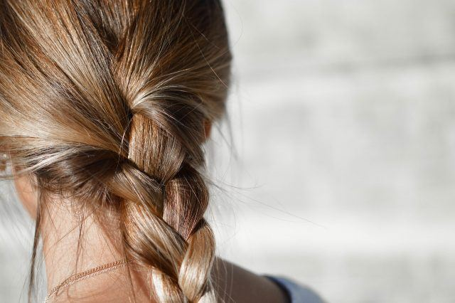 a braid in a woman's hair