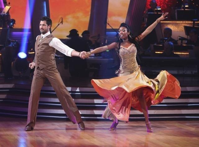 Maks twirls Brandy out during 'Dancing With the Stars.'