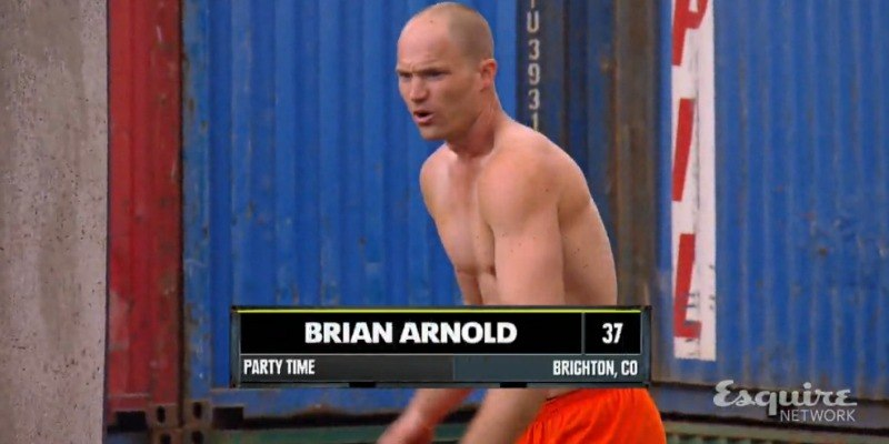 Brian Arnold is getting in position to start the course on Team Ninja Warrior.