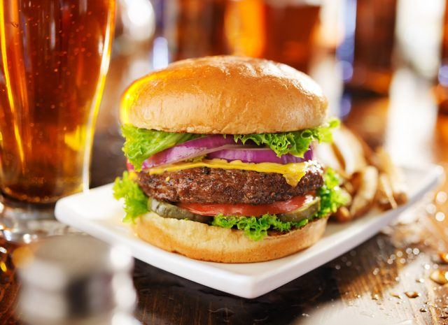 cheeseburger with fries and beer shot